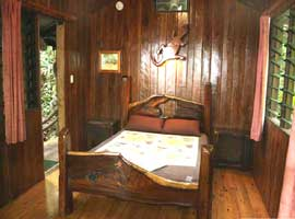 Queen size timber bed in this Daintree bungalow